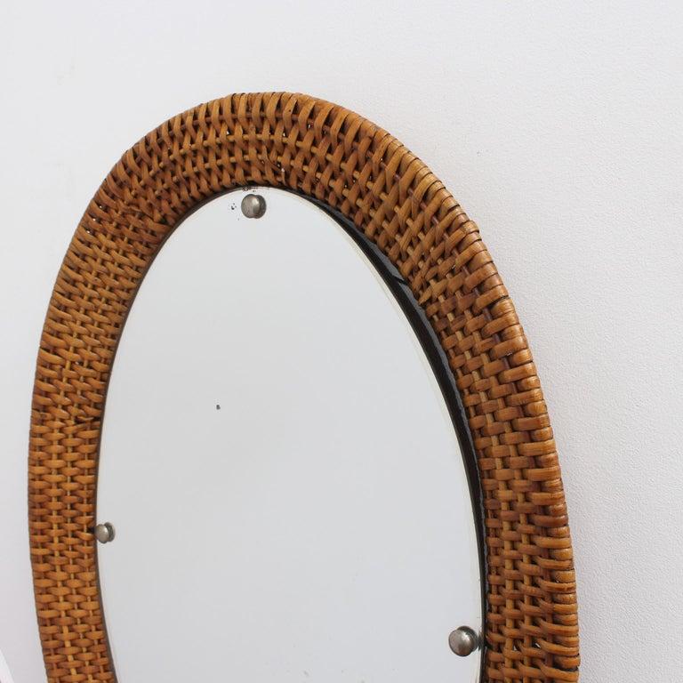 Italian Wicker Rattan Oval-Shaped Wall Mirror, circa 1960s For Sale 5