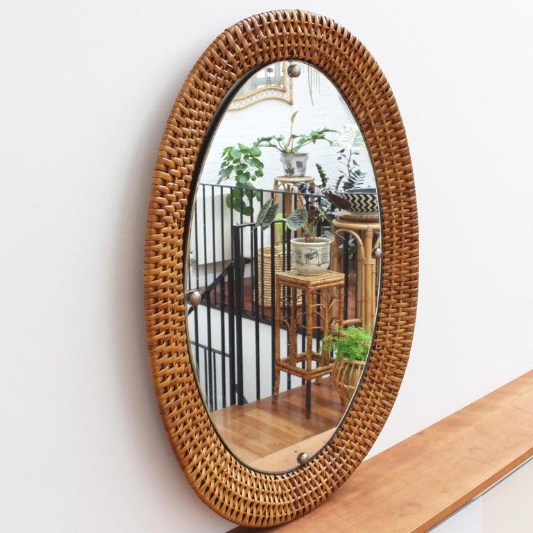 Italian Wicker Rattan Oval-Shaped Wall Mirror, circa 1960s For Sale 6