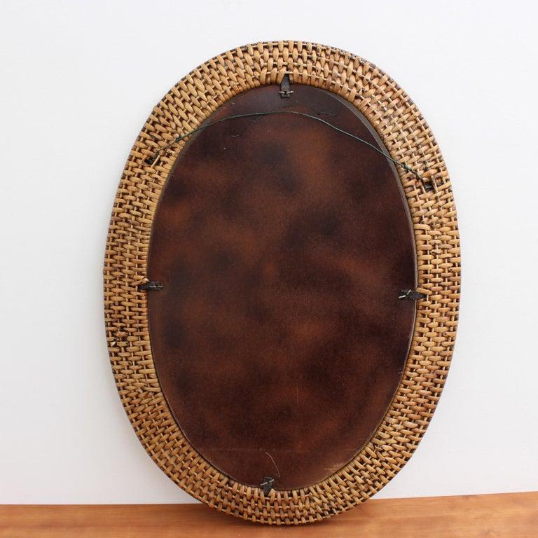 Italian Wicker Rattan Oval-Shaped Wall Mirror, circa 1960s For Sale 7