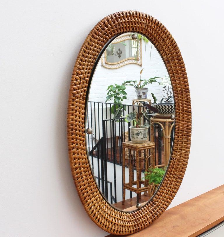 Mid-Century Modern Italian Wicker Rattan Oval-Shaped Wall Mirror, circa 1960s For Sale
