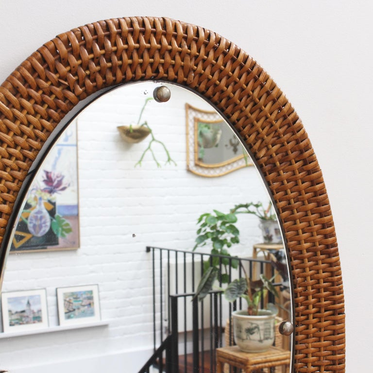 French Italian Wicker Rattan Oval-Shaped Wall Mirror, circa 1960s For Sale
