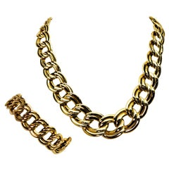 Italian Wide Link Yellow Gold Chain Necklace and Bracelet Set