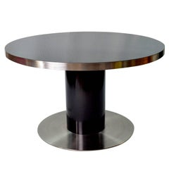 Italian Willy Rizzo Rounded Black Lacquered Steel Table, 1970s