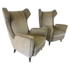 Italian Wing-Back Armchairs in the Style of Ponti, Pair