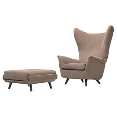 Italian Wing Back Chair with Ottoman