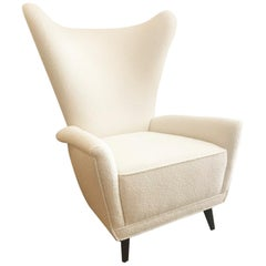 Italian Wing Back Lounge Chair in Classic Pearl Bouclé by Knoll