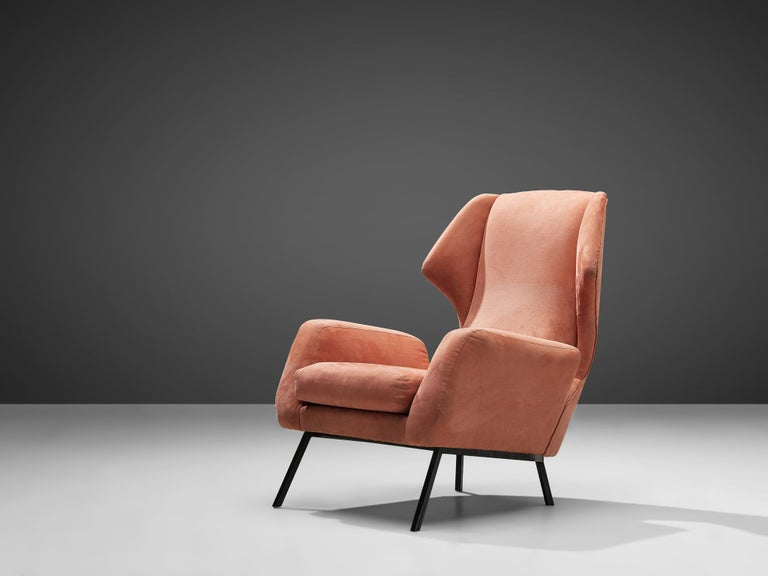 Mid-Century Modern Italian Wingback Chair in Salmon Suede For Sale