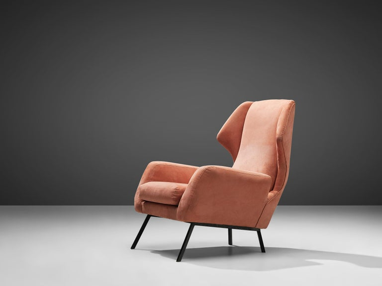 Italian Wingback Chair in Salmon Suede In Good Condition For Sale In Waalwijk, NL