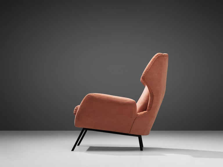 Mid-20th Century Italian Wingback Chair in Salmon Suede For Sale