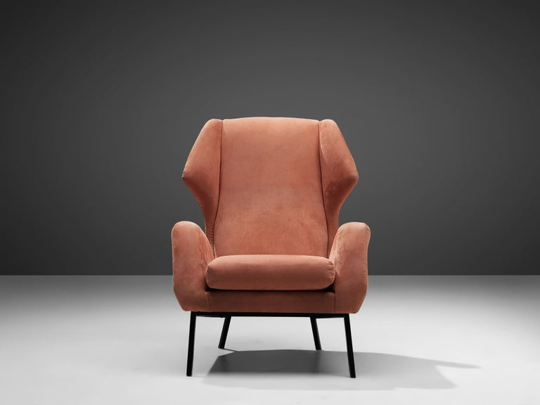 Metal Italian Wingback Chair in Salmon Suede For Sale