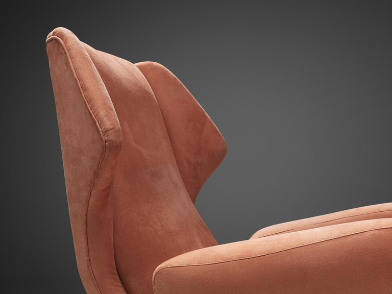 Italian Wingback Chair in Salmon Suede For Sale 1