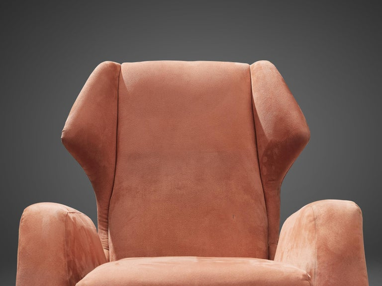 Italian Wingback Chair in Salmon Suede For Sale 3