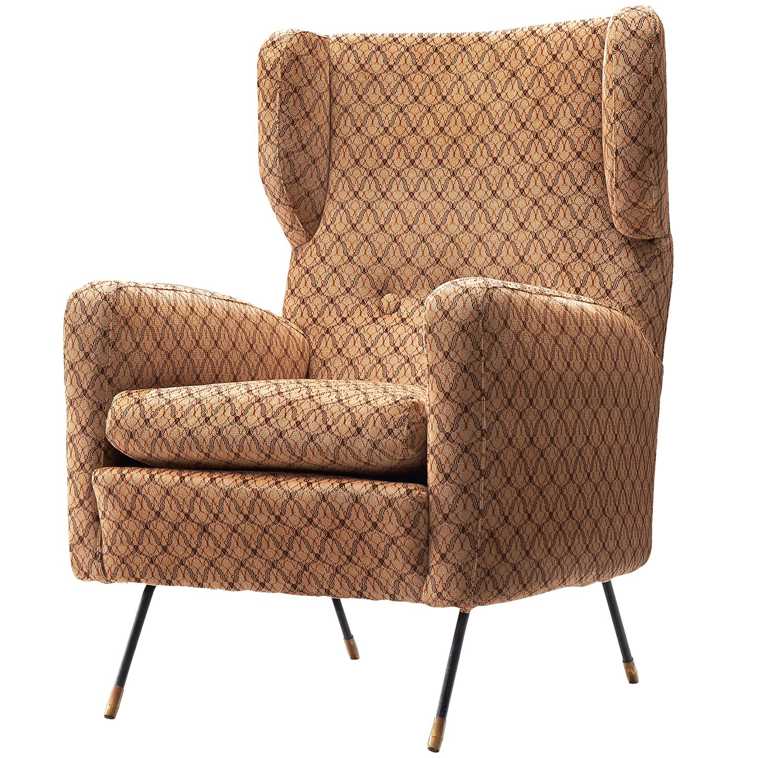 Italian Wingback Chair with Slender Legs