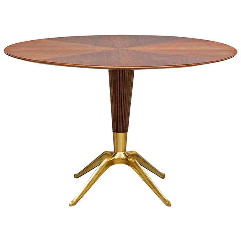 Italian Wood and Brass Dining Table, Melchiorre Bega, 1948