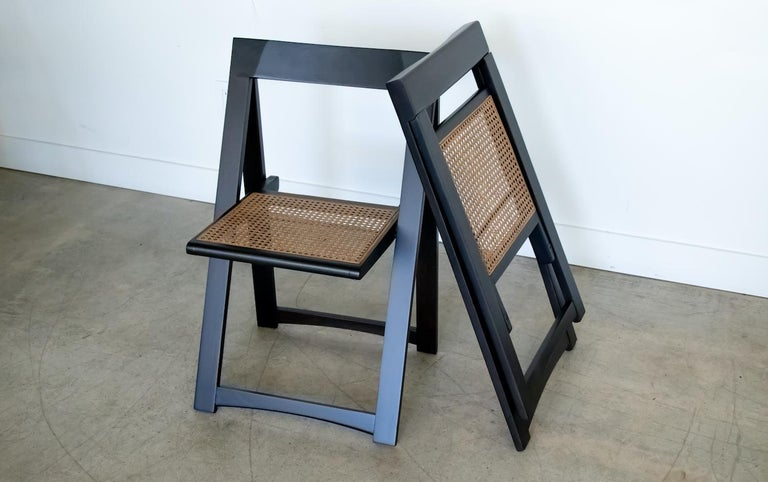 Italian Wood and Cane Folding Chair by Aldo Jacober For Sale 6