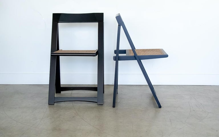 Italian Wood and Cane Folding Chair by Aldo Jacober In Good Condition For Sale In Los Angeles, CA