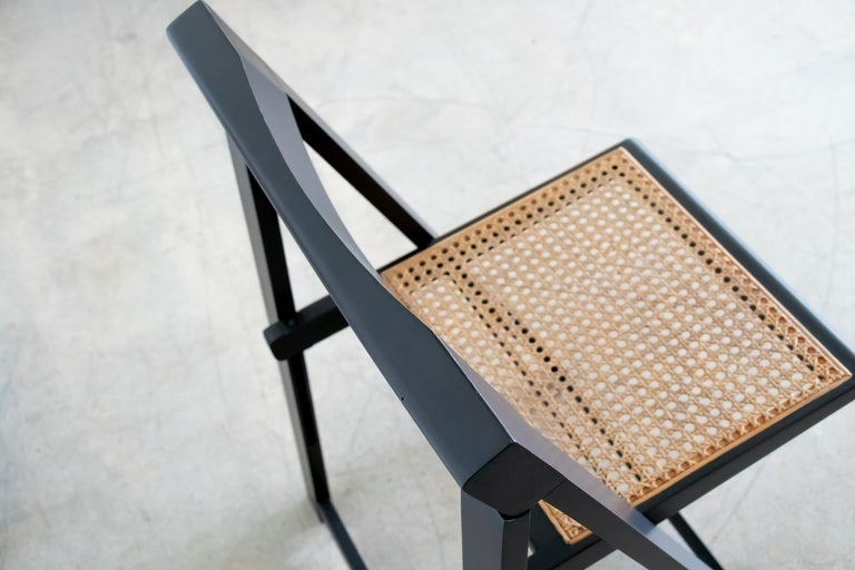 Italian Wood and Cane Folding Chair by Aldo Jacober For Sale 1