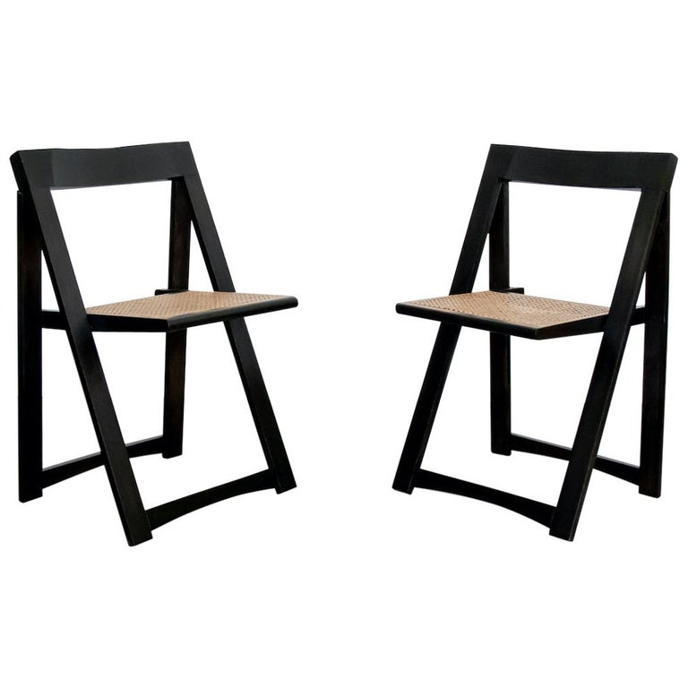 Italian Wood and Cane Folding Chair by Aldo Jacober For Sale
