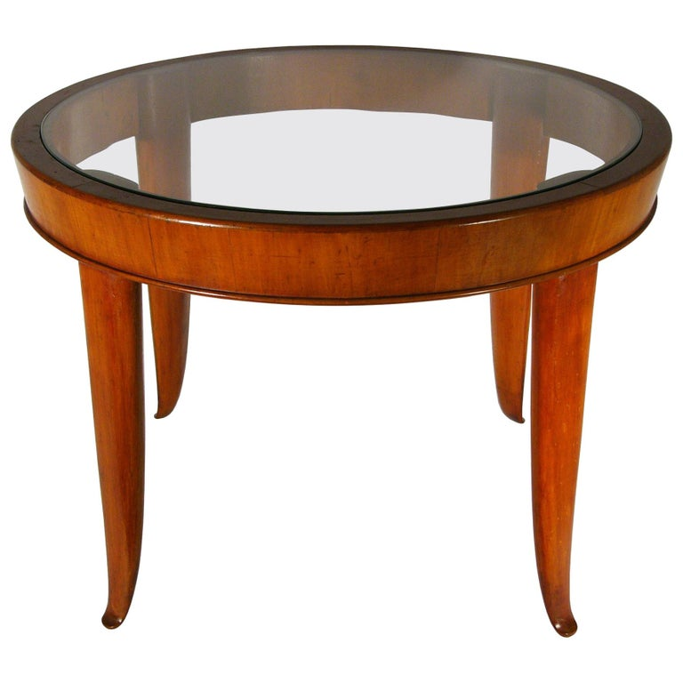 Wood And Gl 1940s Round Coffee Table