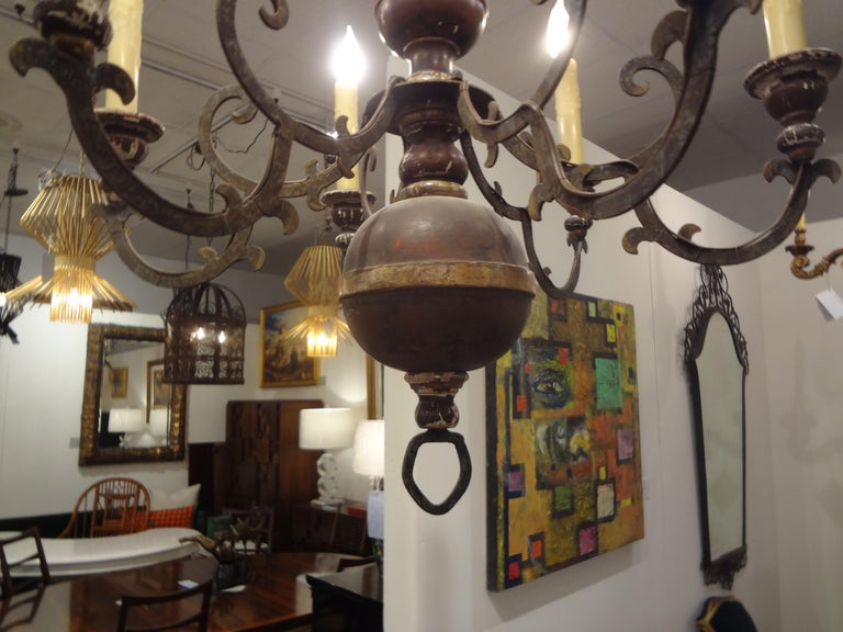 Neoclassical Italian Wood and Iron Six-Light Chandelier For Sale
