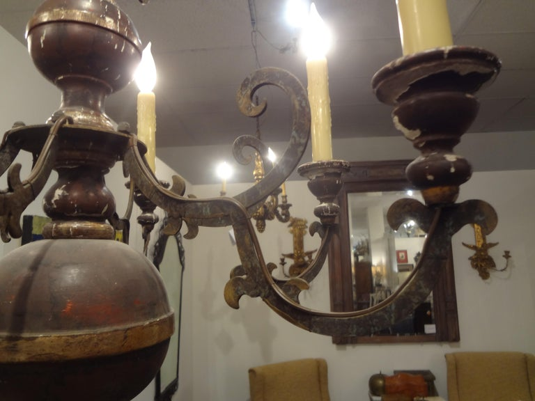 Italian Wood and Iron Six-Light Chandelier In Good Condition For Sale In Houston, TX
