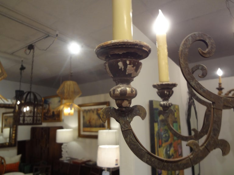 Early 20th Century Italian Wood and Iron Six-Light Chandelier For Sale