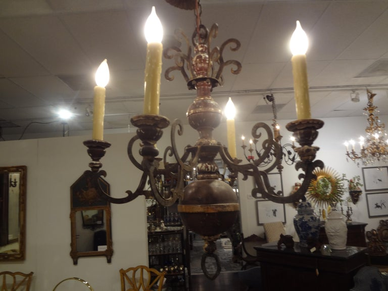 Italian Wood and Iron Six-Light Chandelier For Sale 2