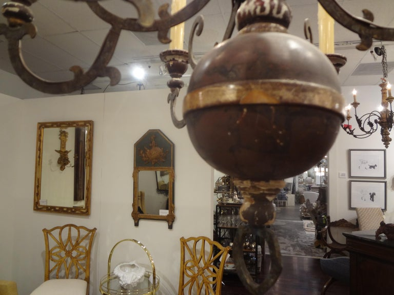 Italian Wood and Iron Six-Light Chandelier For Sale 3