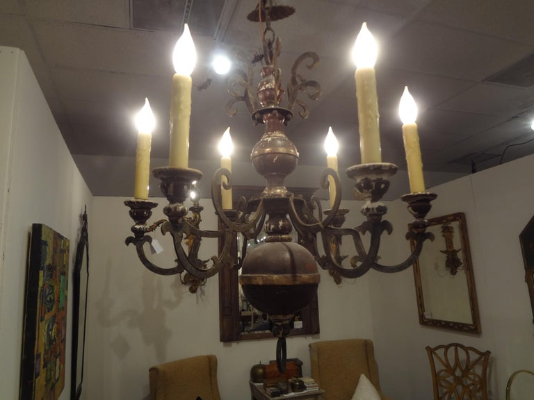 Italian Wood and Iron Six-Light Chandelier For Sale 4