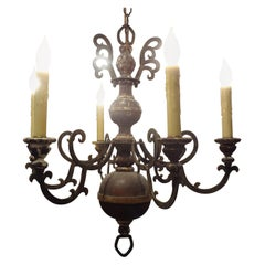Italian Wood and Iron Six Light Chandelier