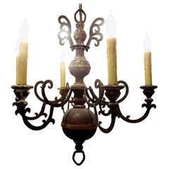 Italian Wood and Iron Six-Light Chandelier
