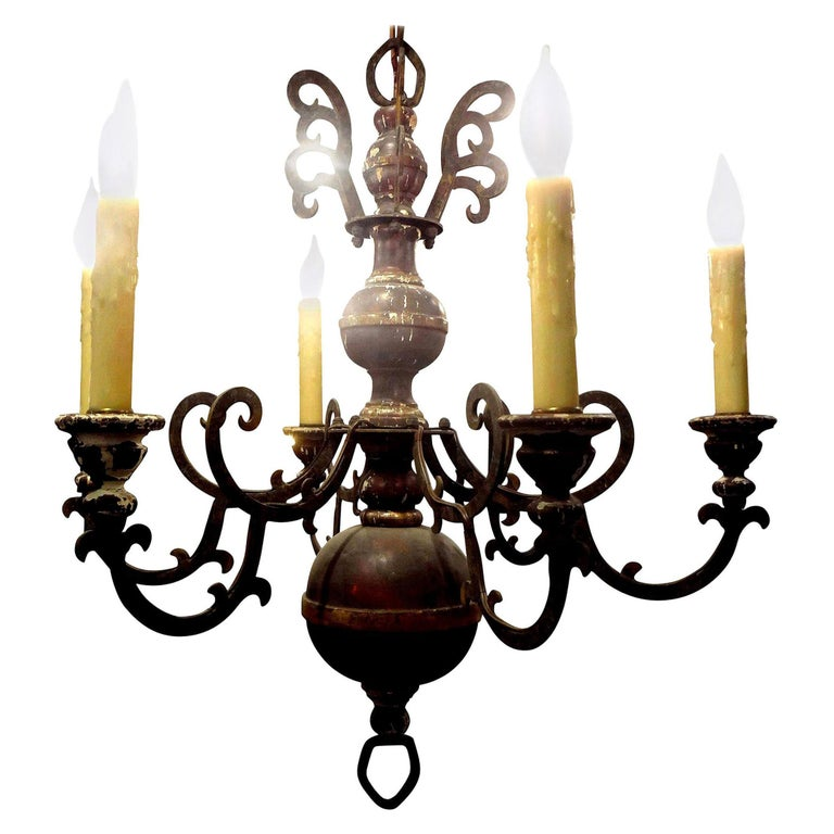 Italian Wood and Iron Six-Light Chandelier For Sale