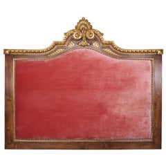 Italian Wood and Parcel-Gilt Pink Velvet Headboard