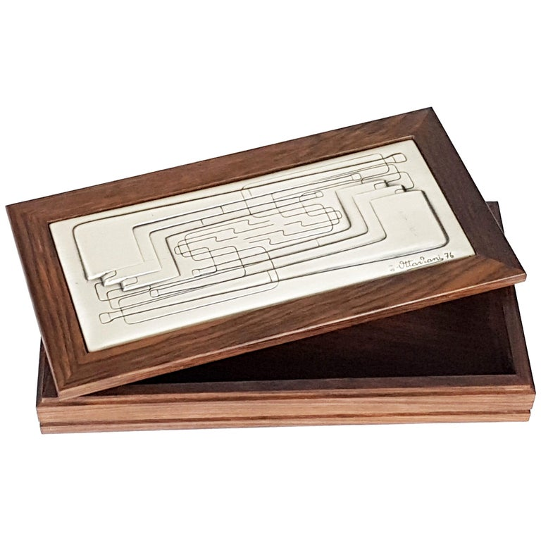 """Italian Wood and Silver """"Pipes"""" Table Box by Ottaviani, 1976 For Sale"""