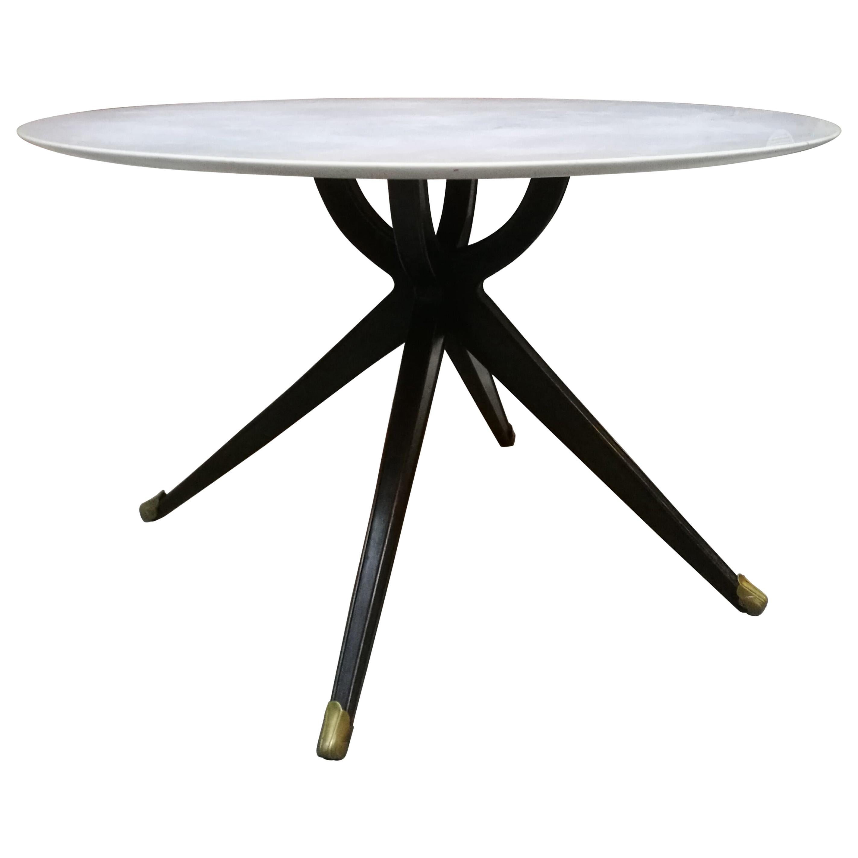 Italian Wood and White Marble Dining Table, 1950s