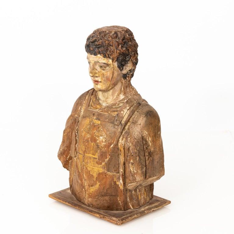 Italian Wood Bust For Sale 8