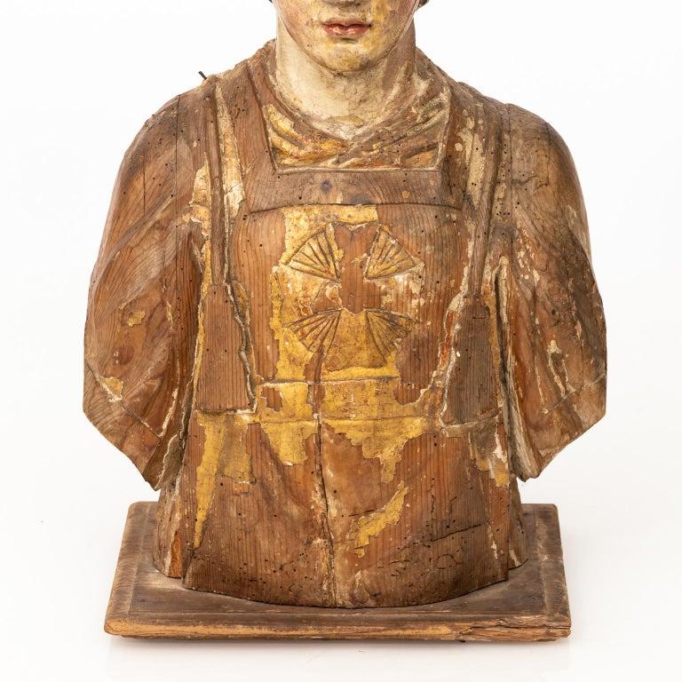 Italian wood bust of a
