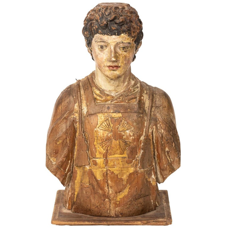 Italian Wood Bust For Sale