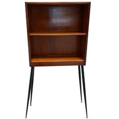 Italian Wood Cabinet or Étagère with Black Metal Feet and Brass Ends, 1960s