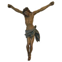 Italian Wood Crucifix Hand Painted, 1900, Italy