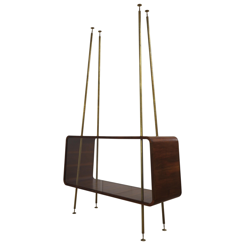 Italian Wood Glass Midcentury Modern Display Cabinet, 1950s