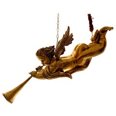 Italian Wood Gold Leaf Musician Cherub, Ceiling Hanging, 1950s