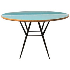 Italian Wood, Light Blue Crystal and Metal Rod Dining Table, 1950s