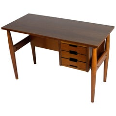 Italian Wood Small Desk with Drawers by Schirolli Mantova, 1960s