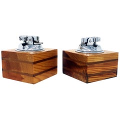 Italian Wood Table Lighters, a Pair