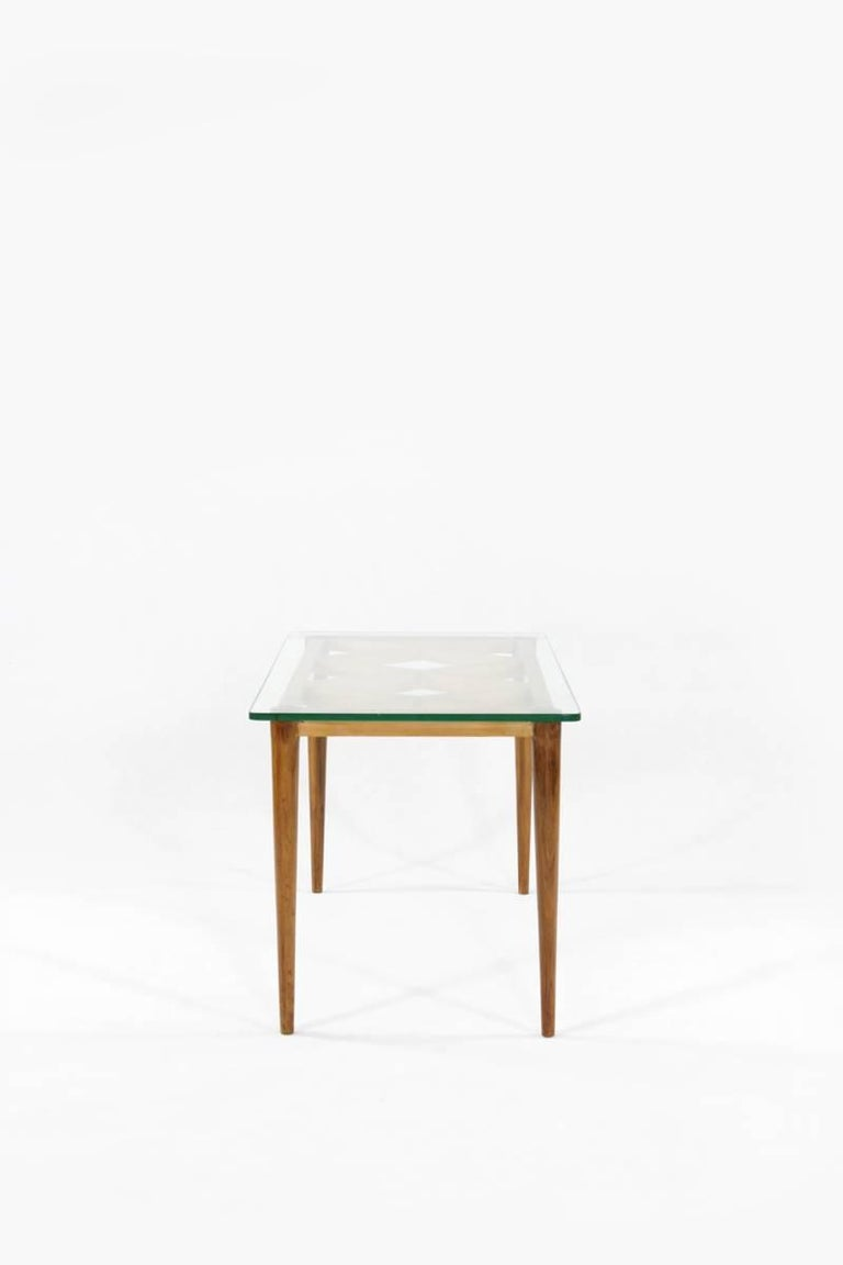 Mid-Century Modern Italian Wooden Coffee Table in Style of Paolo Buffa, Crystal Glass Top, 1950s For Sale