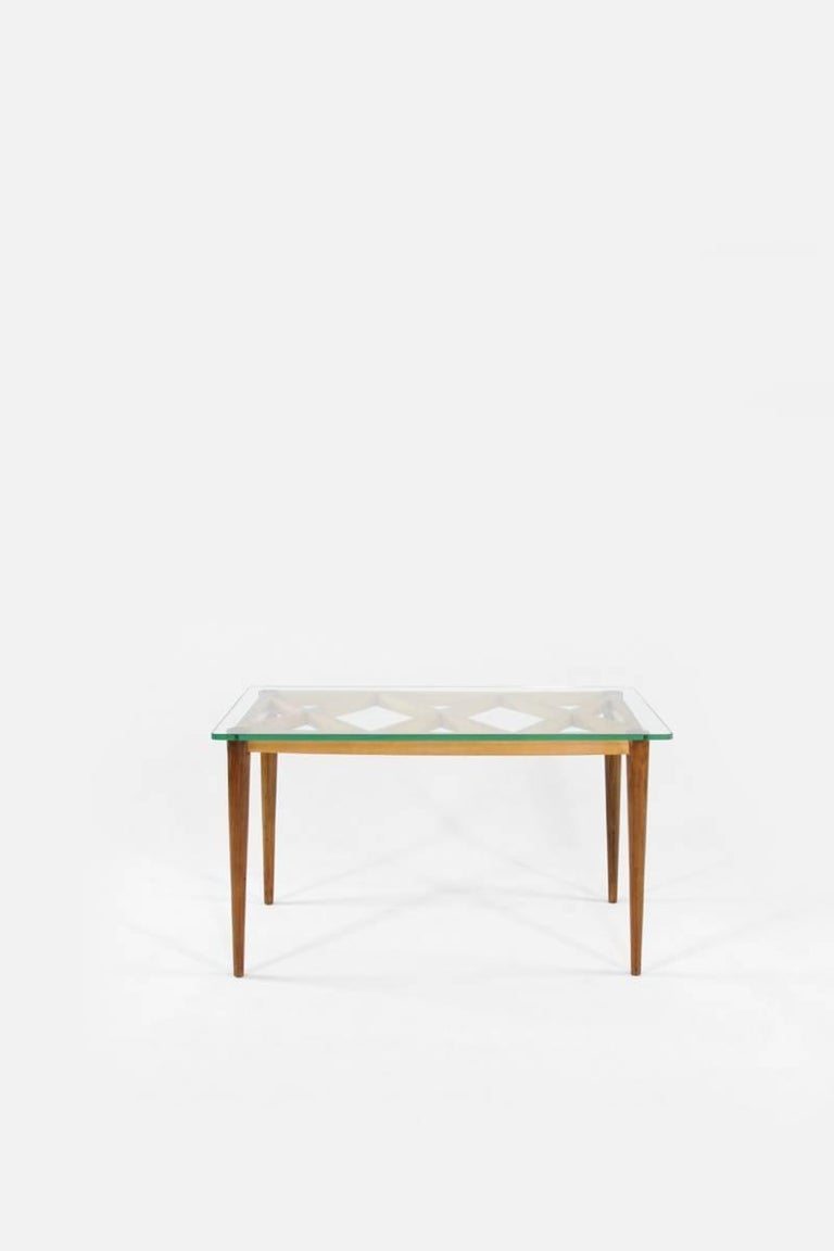 European Italian Wooden Coffee Table in Style of Paolo Buffa, Crystal Glass Top, 1950s For Sale
