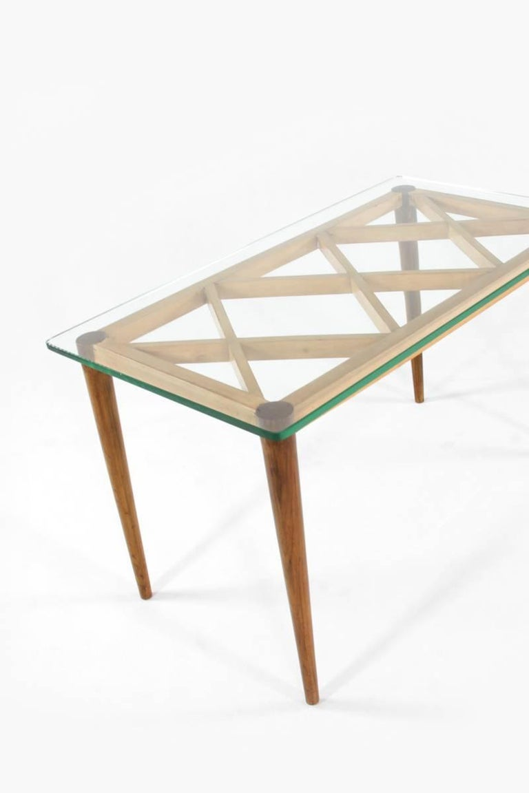 Italian Wooden Coffee Table in Style of Paolo Buffa, Crystal Glass Top, 1950s In Good Condition For Sale In Wolfurt, AT