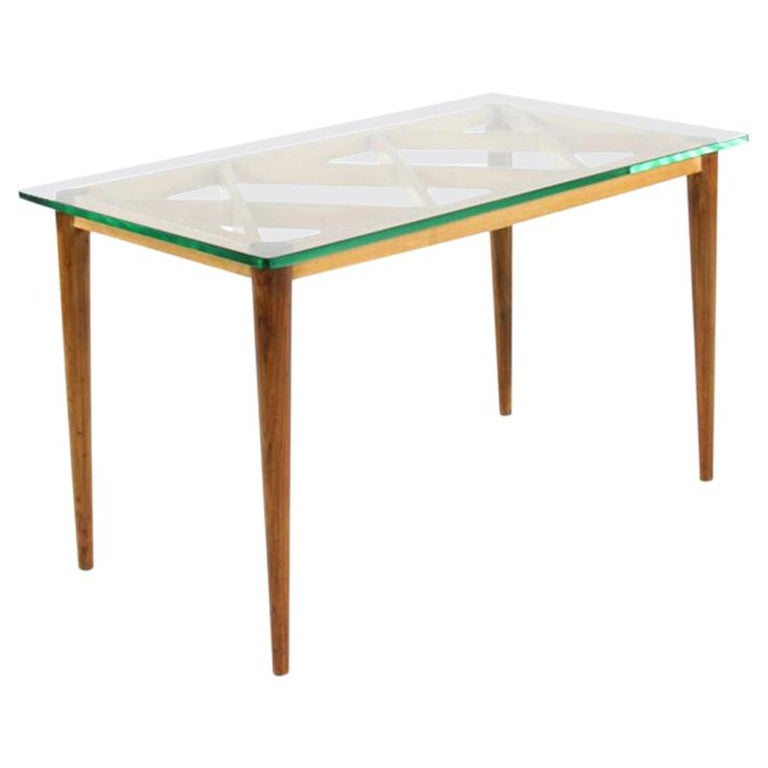 Italian Wooden Coffee Table in Style of Paolo Buffa, Crystal Glass Top, 1950s For Sale