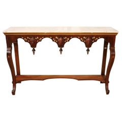 Italian Wooden Console with Marble Top, 20th Century